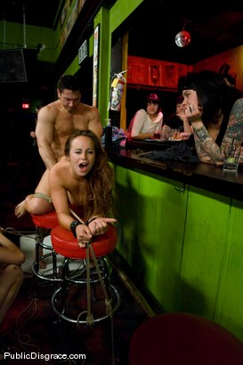Photo number 5 from Busty brunette fucked in front of a bar full of people!!!! shot for Public Disgrace on Kink.com. Featuring Bella Rossi and John Strong in hardcore BDSM & Fetish porn.