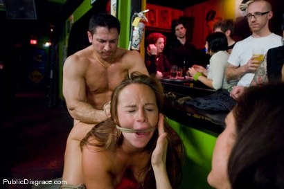 Photo number 9 from Busty brunette fucked in front of a bar full of people!!!! shot for Public Disgrace on Kink.com. Featuring Bella Rossi and John Strong in hardcore BDSM & Fetish porn.