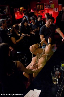 Photo number 3 from Busty brunette fucked in front of a bar full of people!!!! shot for Public Disgrace on Kink.com. Featuring Bella Rossi and John Strong in hardcore BDSM & Fetish porn.