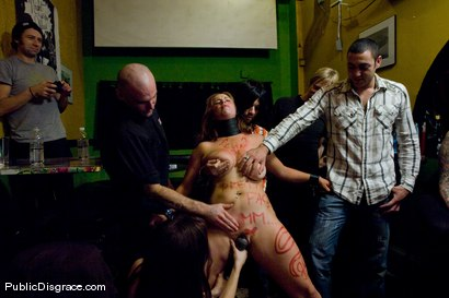 Photo number 12 from Busty brunette fucked in front of a bar full of people!!!! shot for Public Disgrace on Kink.com. Featuring Bella Rossi and John Strong in hardcore BDSM & Fetish porn.