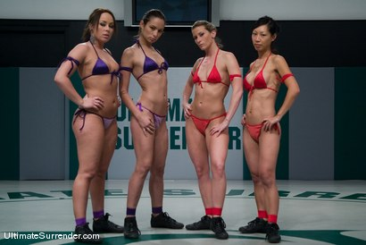 Photo number 1 from LIVE TAG TEAM LEAGUE <BR>Team Purple (3-1)<br> vs <br> Team Red (3-1) shot for Ultimate Surrender on Kink.com. Featuring Alexa Von Tess, Amber Rayne, Ariel X and Tia Ling in hardcore BDSM & Fetish porn.