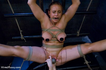 Bella Rossi gets her big natural tits shocked and bound!!!
