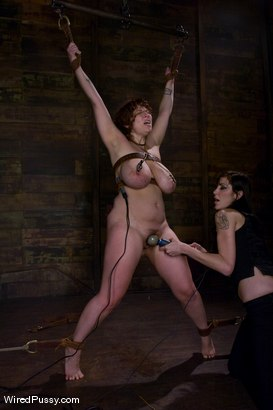 Photo number 14 from 34 F's!!!!!!! Big Natural Tits gets tied and shocked!!!! shot for Wired Pussy on Kink.com. Featuring Mariah Cherry and Princess Donna Dolore in hardcore BDSM & Fetish porn.