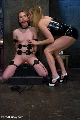 Photo number 4 from Maitresse Madeline vs Bronte shot for Wired Pussy on Kink.com. Featuring Maitresse Madeline Marlowe  and Bronte in hardcore BDSM & Fetish porn.