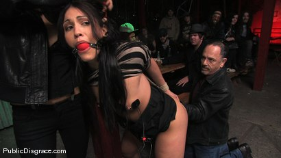 Photo number 4 from Beautiful brunnette, Jade Indica, is bound and fucked in a crowded bar shot for Public Disgrace on Kink.com. Featuring Miss Jade Indica and Mark Davis in hardcore BDSM & Fetish porn.