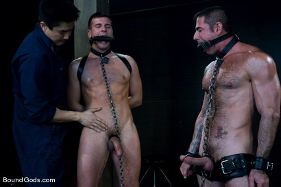 Photo number 4 from Flogs for Fuck shot for Bound Gods on Kink.com. Featuring Nick Moretti, Van Darkholme and Derrek Diamond in hardcore BDSM & Fetish porn.