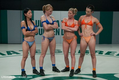 Photo number 2 from LIVE TAG TEAM LEAGUE <BR>The Dragons(1-0)<br> vs <br> The Goddesses (0-1) shot for Ultimate Surrender on Kink.com. Featuring Ariel X, Wenona, Ami Emerson and Tia Ling in hardcore BDSM & Fetish porn.