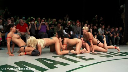 Photo number 14 from LIVE TAG TEAM LEAGUE <BR>The Dragons (3-0)<br> vs <br> The Ninjas (3-0) shot for Ultimate Surrender on Kink.com. Featuring Vendetta, Ariel X, Wenona and Isis Love in hardcore BDSM & Fetish porn.