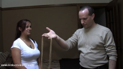 Photo number 2 from Lochai Demonstrates 2 Easy Ties You Can Learn in Minutes shot for Kink University on Kink.com. Featuring Lochai and Bella Rossi in hardcore BDSM & Fetish porn.
