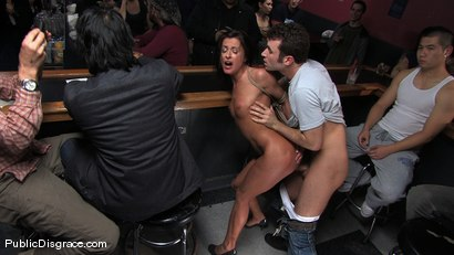 Photo number 4 from Cecilia Vega is bound, fucked and used by a bar full of strangers shot for Public Disgrace on Kink.com. Featuring James Deen and Cecilia Vega in hardcore BDSM & Fetish porn.