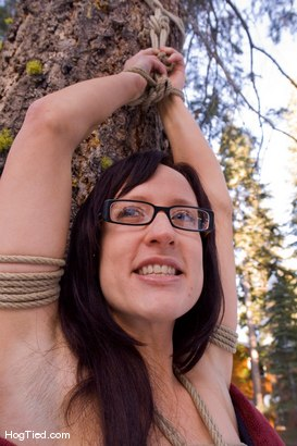 Photo number 4 from Tahoe: Exiled from Dick Mountain pt 4: Busy day out doors shot for Hogtied on Kink.com. Featuring Kristine, Dia Zerva, Amber Keen and Nina in hardcore BDSM & Fetish porn.