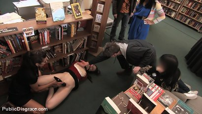 Photo number 3 from Redheaded bookworm gets humiliated and fucked in a bookstore! shot for Public Disgrace on Kink.com. Featuring Amber Keen and Randy Spears in hardcore BDSM & Fetish porn.
