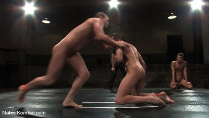 Photo number 11 from Spencer Reed vs Dustin Michaels & Karter James shot for Naked Kombat on Kink.com. Featuring Dustin Michaels, Karter James and Spencer Reed in hardcore BDSM & Fetish porn.