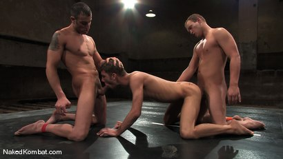 Photo number 13 from Spencer Reed vs Dustin Michaels & Karter James shot for Naked Kombat on Kink.com. Featuring Dustin Michaels, Karter James and Spencer Reed in hardcore BDSM & Fetish porn.