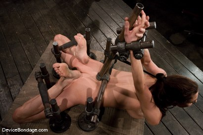 Photo number 3 from Princess Donna<br>Trapped in a hard metal hogtie<br>finger fucked to orgasm shot for Device Bondage on Kink.com. Featuring Princess Donna Dolore in hardcore BDSM & Fetish porn.