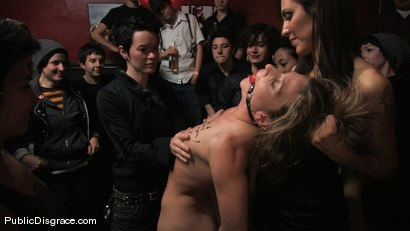 Photo number 5 from All Girl Public Disgrace: Ariel X humiliated and used in a queer bar shot for Public Disgrace on Kink.com. Featuring Ariel X and Dana DeArmond in hardcore BDSM & Fetish porn.