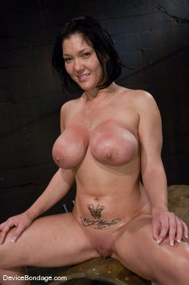 Photo number 15 from Claire Dames<br>Her huge tits, brutally bound and oiled. <br>Her body spread and tormented.<br> shot for Device Bondage on Kink.com. Featuring Claire Dames in hardcore BDSM & Fetish porn.