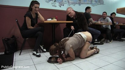 Photo number 2 from Hot amateur fucked in diner and made to give bj's to strangers!!! shot for Public Disgrace on Kink.com. Featuring Mark Davis and Delilah Knight in hardcore BDSM & Fetish porn.
