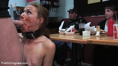 Photo number 4 from Hot amateur fucked in diner and made to give bj's to strangers!!! shot for Public Disgrace on Kink.com. Featuring Mark Davis and Delilah Knight in hardcore BDSM & Fetish porn.