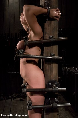 Photo number 10 from Beverly Hills<br> Captured in a handmade, custom fitted, <br>device that pins her to a beam. shot for Device Bondage on Kink.com. Featuring Beverly Hills in hardcore BDSM & Fetish porn.