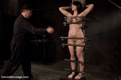 Photo number 6 from Beverly Hills<br> Captured in a handmade, custom fitted, <br>device that pins her to a beam. shot for Device Bondage on Kink.com. Featuring Beverly Hills in hardcore BDSM & Fetish porn.