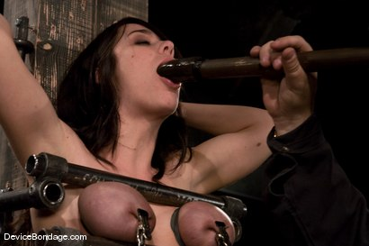 Photo number 8 from Beverly Hills<br> Captured in a handmade, custom fitted, <br>device that pins her to a beam. shot for Device Bondage on Kink.com. Featuring Beverly Hills in hardcore BDSM & Fetish porn.