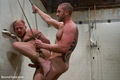 Photo number 13 from Training for TheUpperFloor.com: Part Three shot for Bound Gods on Kink.com. Featuring Geoffrey Paine, Luke Riley and Van Darkholme in hardcore BDSM & Fetish porn.