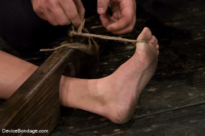 Photo number 4 from Krissy Lynn<br> Hot Californian blond, suffers her first foot torture. shot for Device Bondage on Kink.com. Featuring Krissy Lynn in hardcore BDSM & Fetish porn.
