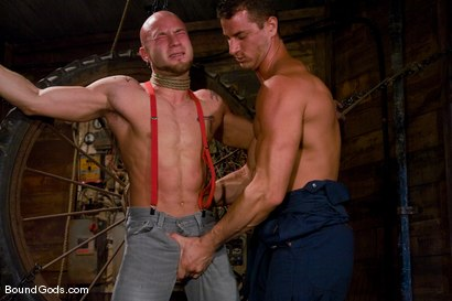 Photo number 2 from The Farmer and The Punk shot for Bound Gods on Kink.com. Featuring Drake Jaden and Rusty Stevens in hardcore BDSM & Fetish porn.
