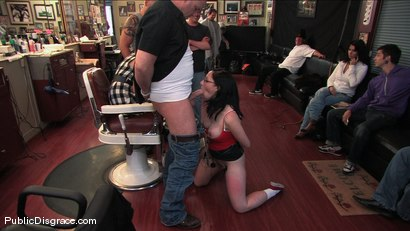 Photo number 4 from Amateur model gets humiliated and fucked in a barber shop shot for Public Disgrace on Kink.com. Featuring Maggie Mayhem and Mark Davis in hardcore BDSM & Fetish porn.