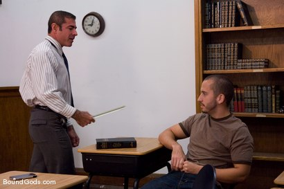 Photo number 1 from Kink University shot for Bound Gods on Kink.com. Featuring Zane Jacobs and Nick Moretti in hardcore BDSM & Fetish porn.
