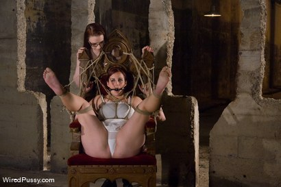 Photo number 2 from Bella Rossi's huge natural tits get tied and wired!!! shot for Wired Pussy on Kink.com. Featuring Claire Adams and Bella Rossi in hardcore BDSM & Fetish porn.