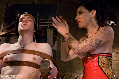 Photo number 2 from Demanding Mistress Kross puts Kade in The Chair shot for Men In Pain on Kink.com. Featuring Simone Kross and Kade in hardcore BDSM & Fetish porn.