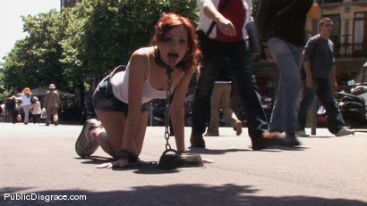 Photo number 1 from BEST OF EUROPE: Beautiful Spanish redhead tied & fucked on the streets shot for Public Disgrace on Kink.com. Featuring Justine and Nick Moreno in hardcore BDSM & Fetish porn.