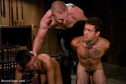 Photo number 3 from Mr Paine and His Boys shot for Bound Gods on Kink.com. Featuring Geoffrey Paine, Dominic Pacifico and DJ in hardcore BDSM & Fetish porn.