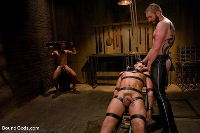 Photo number 7 from Mr Paine and His Boys shot for Bound Gods on Kink.com. Featuring Geoffrey Paine, Dominic Pacifico and DJ in hardcore BDSM & Fetish porn.