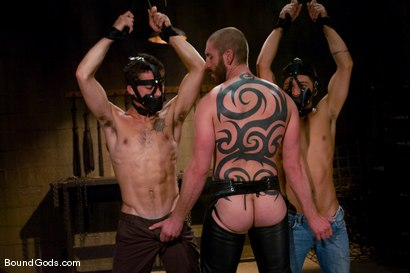 Photo number 1 from Mr Paine and His Boys shot for Bound Gods on Kink.com. Featuring Geoffrey Paine, Dominic Pacifico and DJ in hardcore BDSM & Fetish porn.