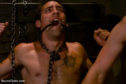Photo number 5 from Mr Paine and His Boys shot for Bound Gods on Kink.com. Featuring Geoffrey Paine, Dominic Pacifico and DJ in hardcore BDSM & Fetish porn.