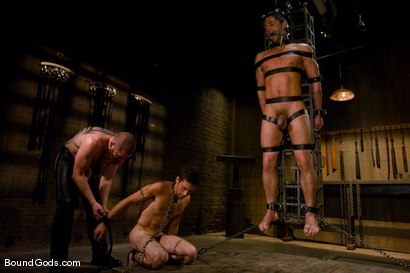 Photo number 9 from Mr Paine and His Boys shot for Bound Gods on Kink.com. Featuring Geoffrey Paine, Dominic Pacifico and DJ in hardcore BDSM & Fetish porn.