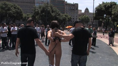 Photo number 3 from Alina Rose gets fucked by two men in public shot for Public Disgrace on Kink.com. Featuring Oliver, Alina Rose and Max Cortes in hardcore BDSM & Fetish porn.