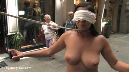 Photo number 8 from Fully Nude and Barefoot in Public shot for Public Disgrace on Kink.com. Featuring Oliver and Salma de Nora in hardcore BDSM & Fetish porn.