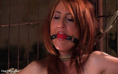 Photo number 3 from Hot Redheaded Prisoner Made to endure multiple orgasms shot for Hogtied on Kink.com. Featuring Kendra James in hardcore BDSM & Fetish porn.