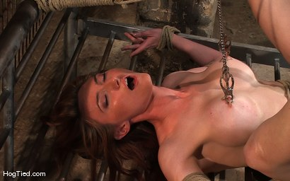 Photo number 4 from Hot Redheaded Prisoner Made to endure multiple orgasms shot for Hogtied on Kink.com. Featuring Kendra James in hardcore BDSM & Fetish porn.