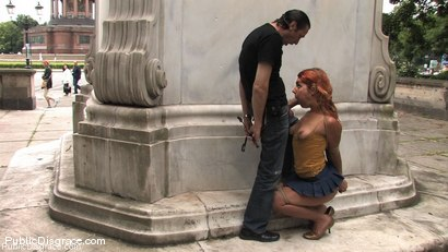 Photo number 9 from Flexible redhead is bound and stripped naked in public shot for Public Disgrace on Kink.com. Featuring Steve Holmes and Molly in hardcore BDSM & Fetish porn.