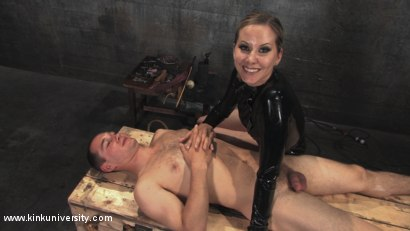 Photo number 11 from Cock and Ball Torment With Maitresse Madeline shot for Kink University on Kink.com. Featuring Maitresse Madeline Marlowe  and Curt Wooster in hardcore BDSM & Fetish porn.