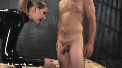 Photo number 15 from Cock and Ball Torment With Maitresse Madeline shot for Kink University on Kink.com. Featuring Maitresse Madeline Marlowe  and Curt Wooster in hardcore BDSM & Fetish porn.