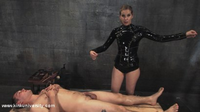 Photo number 1 from Cock and Ball Torment With Maitresse Madeline shot for Kink University on Kink.com. Featuring Maitresse Madeline Marlowe  and Curt Wooster in hardcore BDSM & Fetish porn.