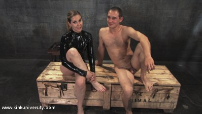 Photo number 2 from Cock and Ball Torment With Maitresse Madeline shot for Kink University on Kink.com. Featuring Maitresse Madeline Marlowe  and Curt Wooster in hardcore BDSM & Fetish porn.