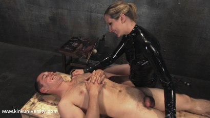 Photo number 6 from Cock and Ball Torment With Maitresse Madeline shot for Kink University on Kink.com. Featuring Maitresse Madeline Marlowe  and Curt Wooster in hardcore BDSM & Fetish porn.