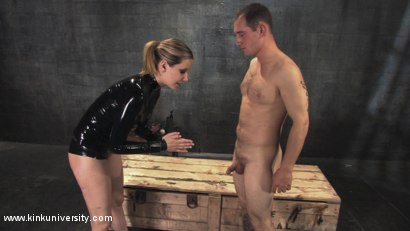 Photo number 9 from Cock and Ball Torment With Maitresse Madeline shot for Kink University on Kink.com. Featuring Maitresse Madeline Marlowe  and Curt Wooster in hardcore BDSM & Fetish porn.